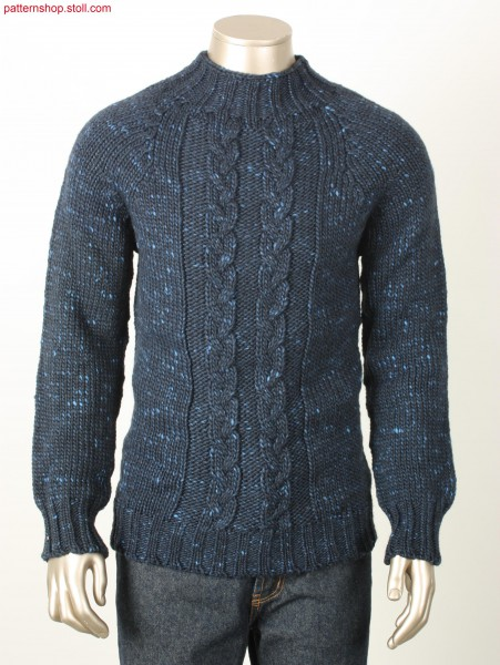 Jersey raglan pullover with 3x2x2 cable network / Rechts-Links Raglanpullover mit 3x2x2 Flechtzopf.
