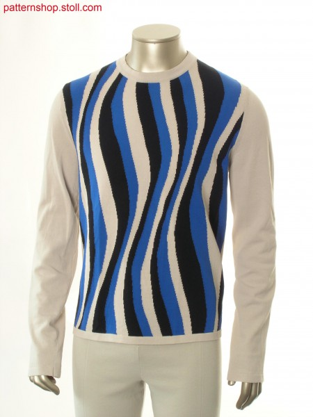 Pullover with inserted sleeves and intarsia motive / Pullover mit eingesetzten