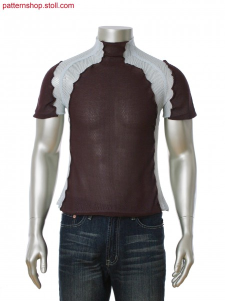 Fully Fashion short sleeved pullover with raglan sleeve and partially connected.Net structure with layer technique.