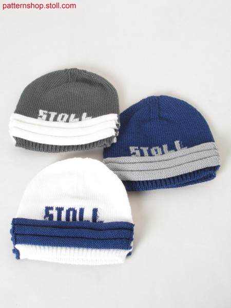 Intarsia jersey cap with wave applications / Rechts-Links Intarsia M