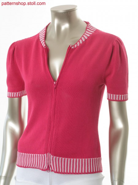 Fitted short-sleeved jersey cardigan with puffed sleeves / Taillierte Rechts-Links Kurzarmstrickjacke mit Puff