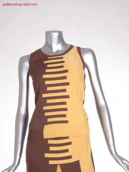 FF-intarsia jersey top with round neck / FF-Intarsia Rechts-Links Top mit Rundhals