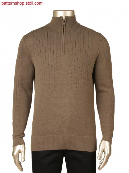Fully Fashion pullover with stand-up collar, inlay yarn and body line in layer technique with tuck connection