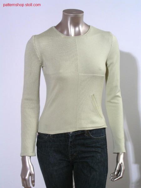 Fitted FF pullover with diagonal inset pocket / Taillierter FF Pullover mit angestrickter schr