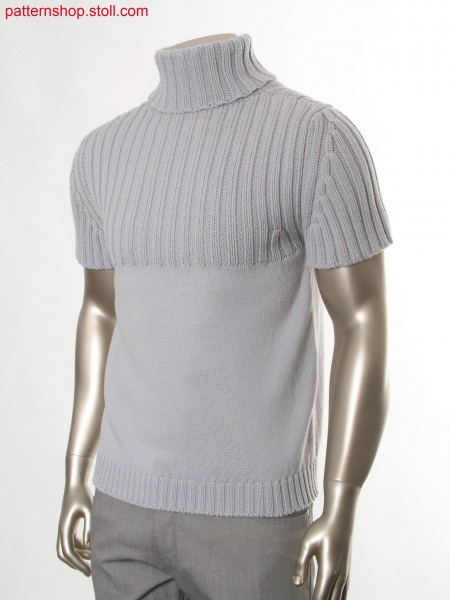 Fully Fashion short-sleeved jersey pullover with 2x2 rib / Fully Fashion Rechts-Links Kurzarmpullover mit 2x2 Rippe