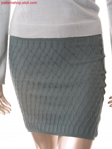 Fully Fashion skirt with transfer structure in aran-look /Fully Fashion Rock mit Umh