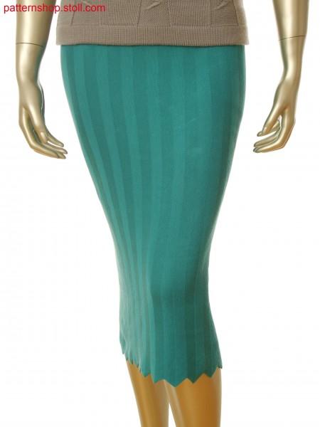 Skirt with herringbone pattern and waistband in 1x3 alternate knitting