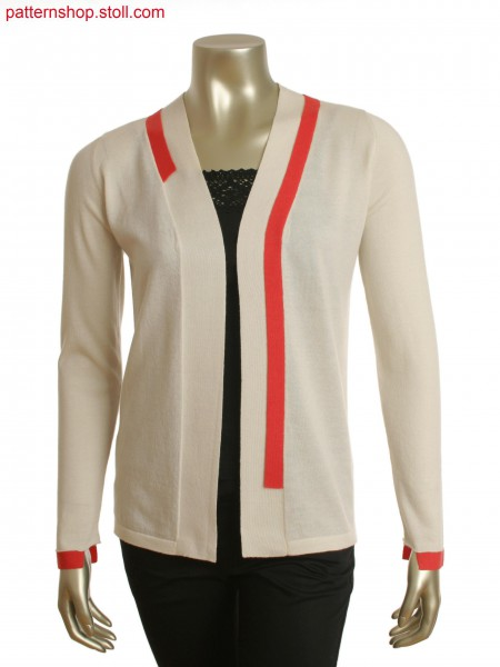 Fully Fashion V-neck cardigan with single jersey,black stripe as back panels and neck trim