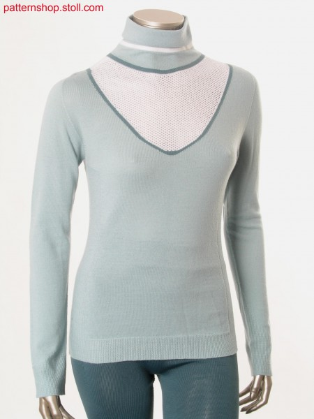 Fitted intarsia pullover with rib and pointelle structure / Taillierter Intarsia Pullover mit Ripp- und Petinetstruktur
