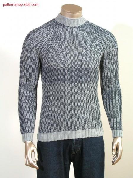 Ringed fair isle pullover in 2x2 rib / Geringelter Fair Isle Pullover in 2x2 Rippe
