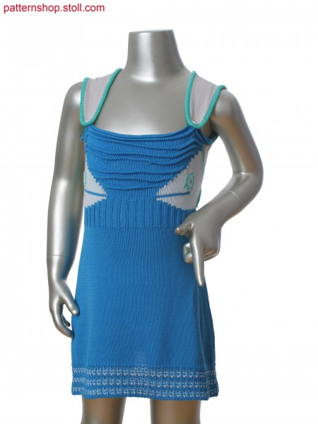 Fully Fashion dress with 3-color intarsia jacquard. Ripple structure with gore technique. Fancy structure at hem.