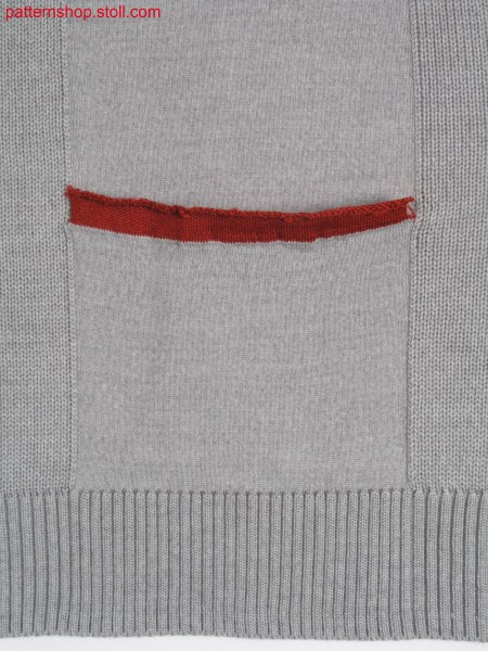 Jersey knitted fabric with pocket / Rechts-Links Gestrick mit Tasche