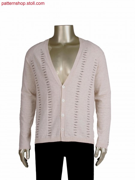 Fully Fashion cardigan with integrated placket, with intarsia, gore technique and holding stitches