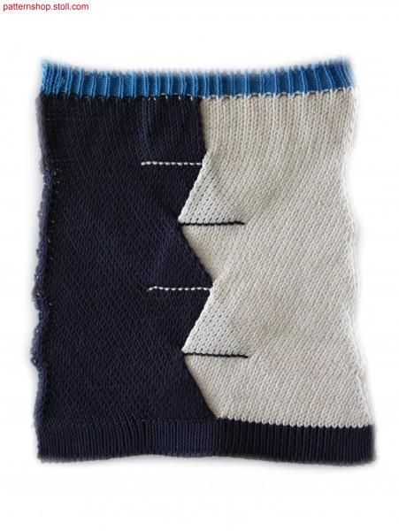 Jersey swatch with diagonal running stitches / Musterausschnitt in Rechts-Links mit Schr