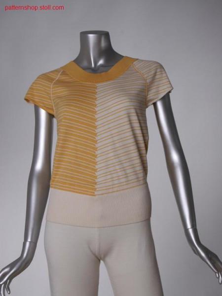Ringed FF-intarsia short-sleeved pullover / Geringelter FF-Intarsia Kurzarmpullover