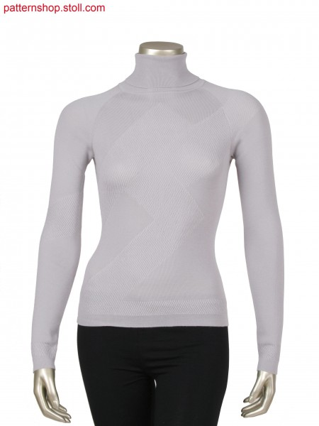 Fully Fashion turtle neck jumper in 1x1 rib, tuck structure and intarsia technique for woven motif