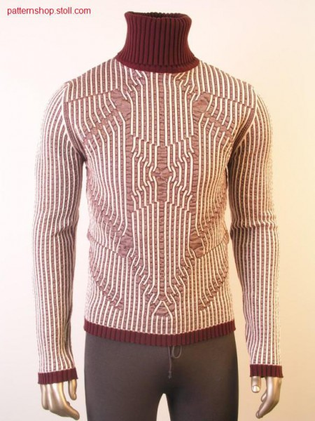Pullover with 2-colour reliefjacquard / Pullover mit 2-farbigem Reliefjacquard