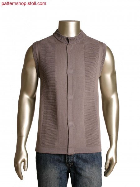 Fully Fashion vest with integrated placket, horizontal-stripes in 3 colours with logo motif
