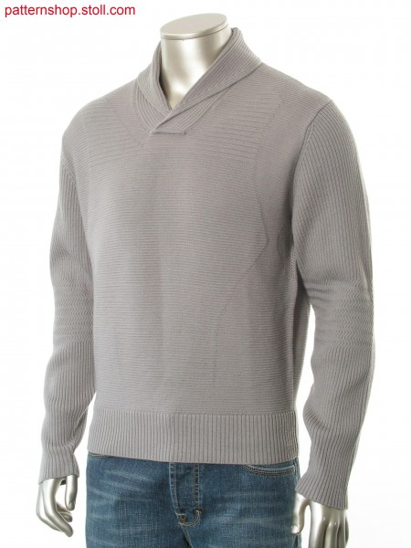 Fully Fashion pullover with overlapped rib collar and body line application inside.