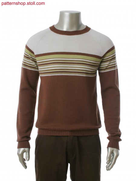 Fully Fashion round neck pullover in 3-color stripes