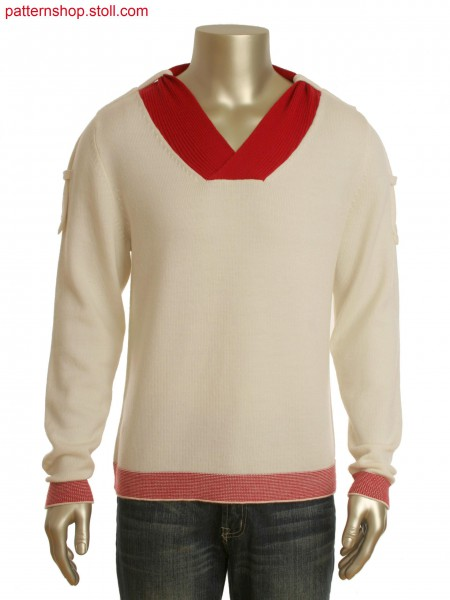 Fully Fashion 2-color V-neck pullover in 1x1 technique with shoulder straps