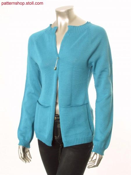Fitted jersey raglan cardigan with patch pockets / Taillierte Rechts-Links Raglanstrickjacke mit aufgesetzten Taschen