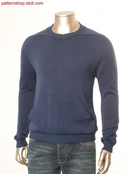 Jersey pullover with patch kangaroo pocket / Rechts-Links Pullover mit aufgesetzter K