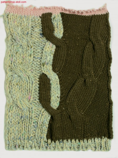 Intarsia swatch with cable patterning / Intarsia Musterausschnitt mit Zopfmusterung