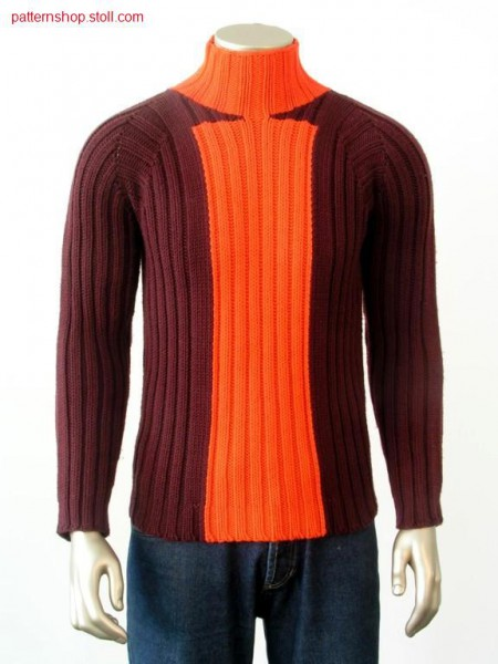 Intarsia sweater with 2x2 rib / Intarsiapullover mit 2x2 Rippe