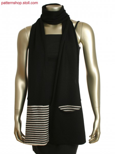Long scarf with both end folded and linked to creat striped pockets