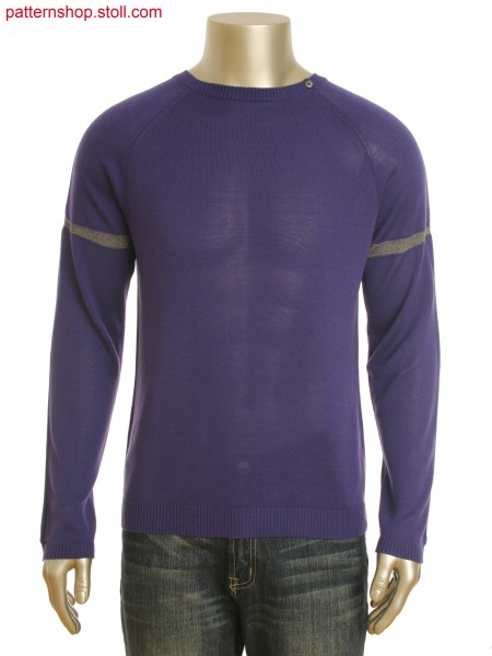 Fully Fashion round neck pullover in 1x1 technique.Sleeve with box pleat and contrast stripe.