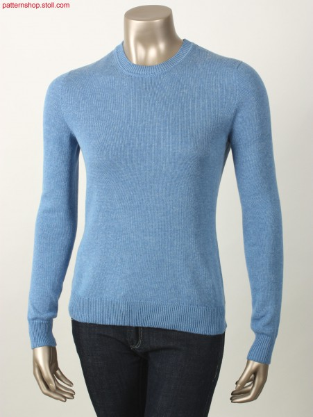 Fitted jersey pullover with French shoulder / TaillierterRechts-Links Pullover mit franz