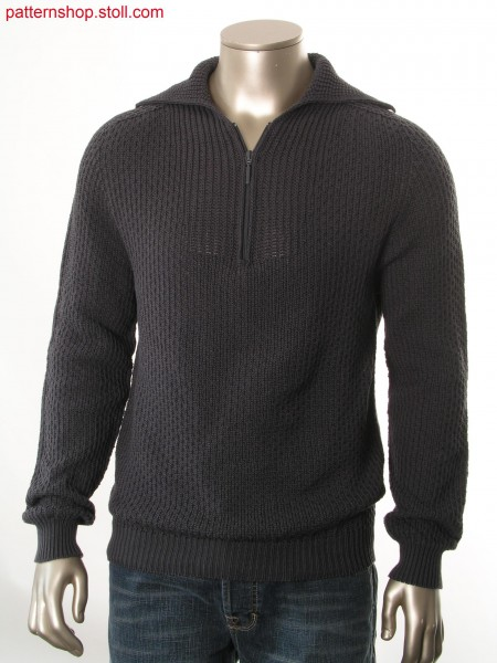Pullover with saddle shoulder in tuck-barley-grain structure/ Pullover mit Sattelschulter in Fang-Gerstenkornstruktur