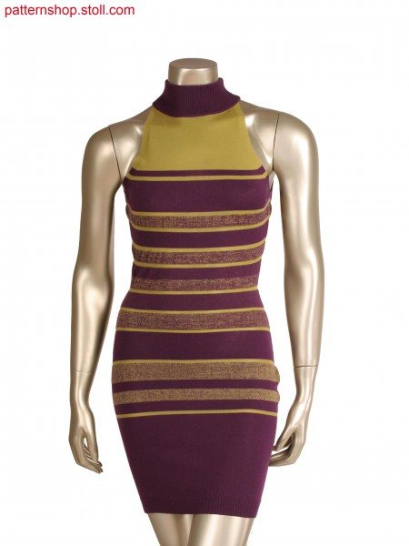 Fully fashion dress, 2 colour plated stripes with different ends