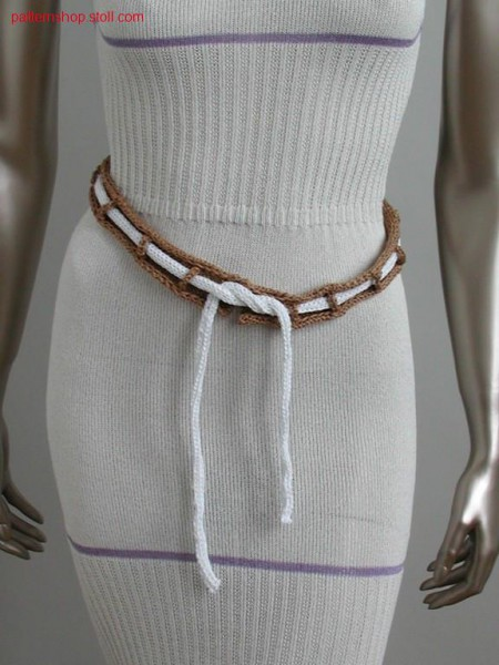 Belt with knitted on loops and inlying band / G