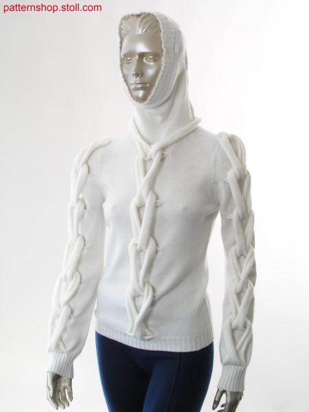 Hooded pullover with intertwined  tape appliqu