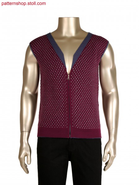 Fully Fashion reversible waistcoat in layer technique, 2 layers and inlay yarn for pattern, integrated collar