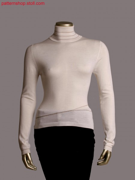 Fully Fashion V-neck pullover, gore technique in 1x1 rib detail, narrowing features