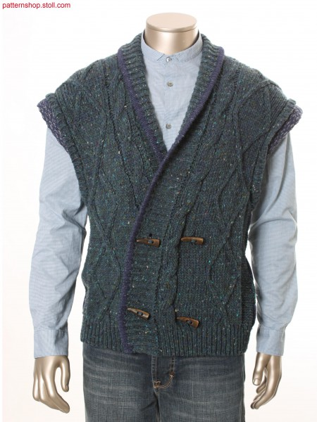 Full Fashion waistcoat with 2x3 cable / Fully Fashion Weste mit 2x3 Zopf