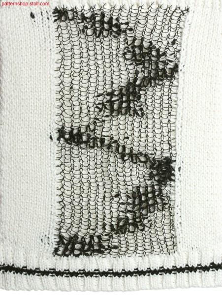 2-layer intarsia stripes on pointelle mesh structure / 2-lagiger Intarsiastreifen auf Petinet-Netzstruktur