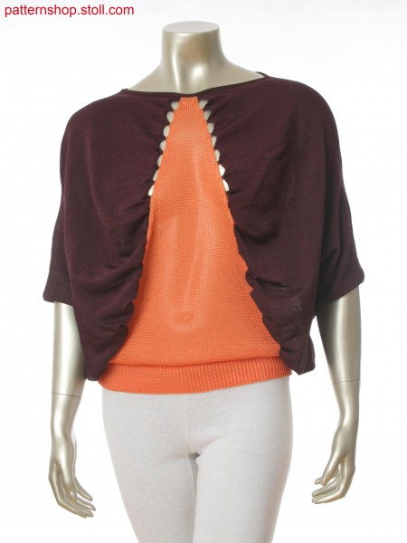 Fully Fashion batwing shirt in 2 color partially connected intarsia