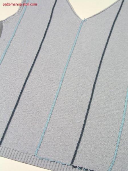 FF-front with needle-stripes and V-neck / FF-Intarsia Vorderteil mit Nadelstreifen und V-Ausschnitt.