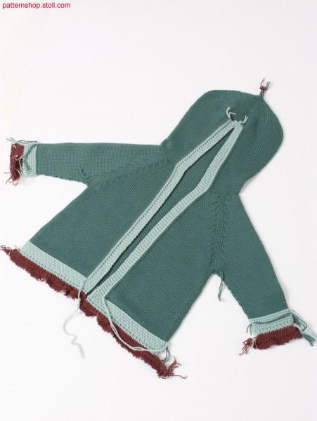 Jersey baby's hooded raglan cardigan / Rechts-Links Baby Kapuzen-Raglanstrickjacke