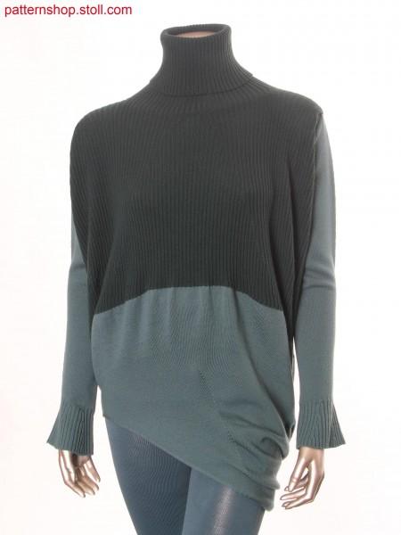 Long-pullover knitted upside down with gore technique / Langer Pullover upside down gestrickt mit Spickeltechnik