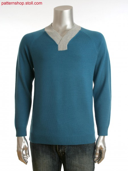 Fully Fashion men's raglan sweater with shawl collar