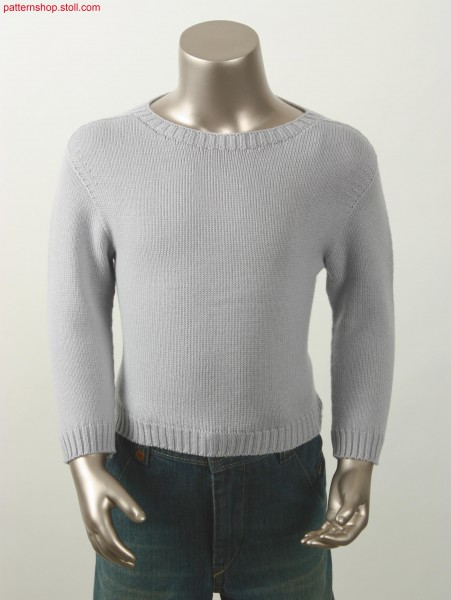 Jersey pullover with saddle shoulder and crew neck with widening / Rechts-Links Pullover mit Sattelschulter und Zunahme