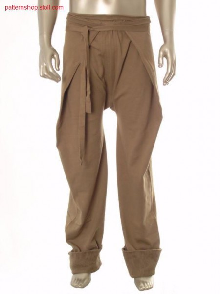 Jersey wraparound trousers with knitted on ties / Rechts-Links Wickelhose mit angestrickten B