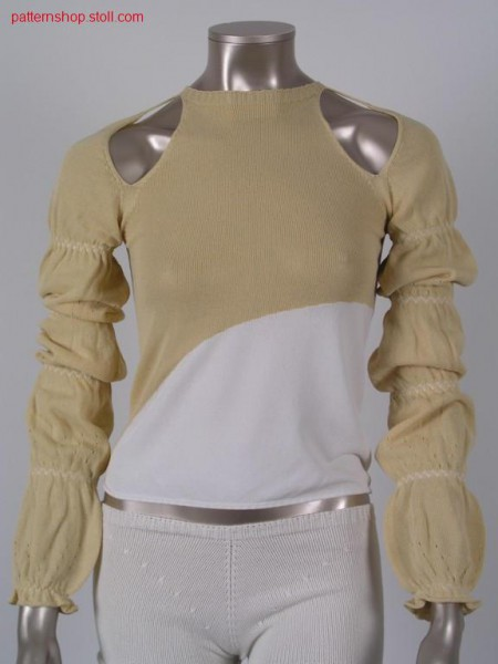 Jersey raglan pullover with shoulder openings / Rechts-LinksRaglanpullover mit Schulter