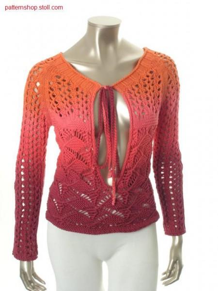 Raglan pullover in tie-dye-technique with pointelle structure / Raglanpullover in Bandana-Technik mit Petinetstruktur