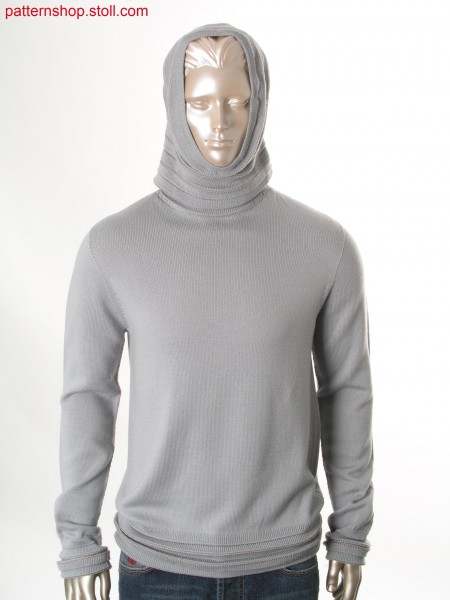 Hooded jersey pullover with 1x1-rib-cuffs / Rechts-Links Kapuzenpullover mit 1x1-Ripp-B